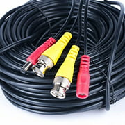 100FT Black Premade BNC Video Power Cable / Wire For Security Camera, CCTV, DVR, Surveillance System, Plug & Play (Black, 100)