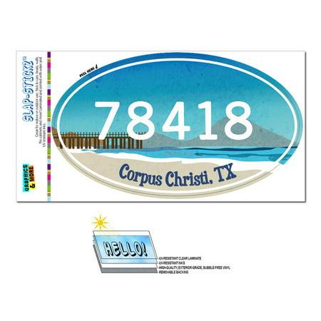 78418 Corpus Christi, TX - Beach Pier - Oval Zip Code Sticker ()