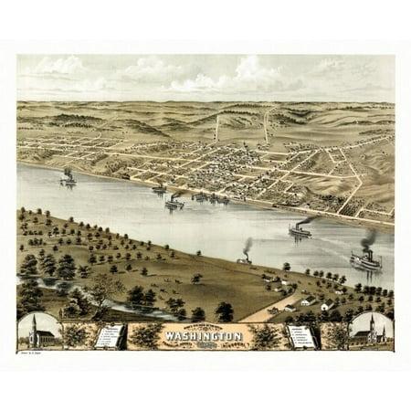 Antique Map of Washington Missouri 1869 Franklin County Poster Print