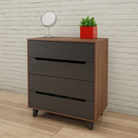 Nexera Cartel 4 Drawer Chest, Walnut and Charcoal