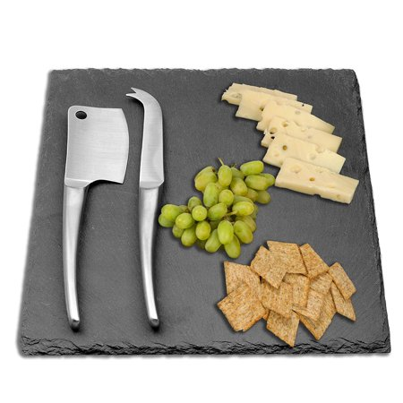 Aroma Bakeware Slate Cheese Board & Two Stainless Steel Knife Servers