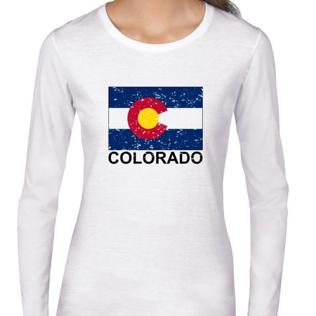 Colorado State Flag   Special Vintage Edition Womens Long Sleeve T Shirt
