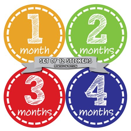 Months In Motion Baby Monthly Stickers for Infants | Newborn Milestone Month Stickers | Gender Neutral - Halloween Crafts For Infants And Toddlers