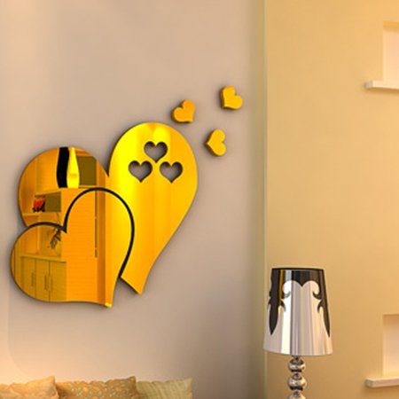 Outgeek 3D Mirror Heart Shaped Wall Decal Stickers Lovely DIY Art ...