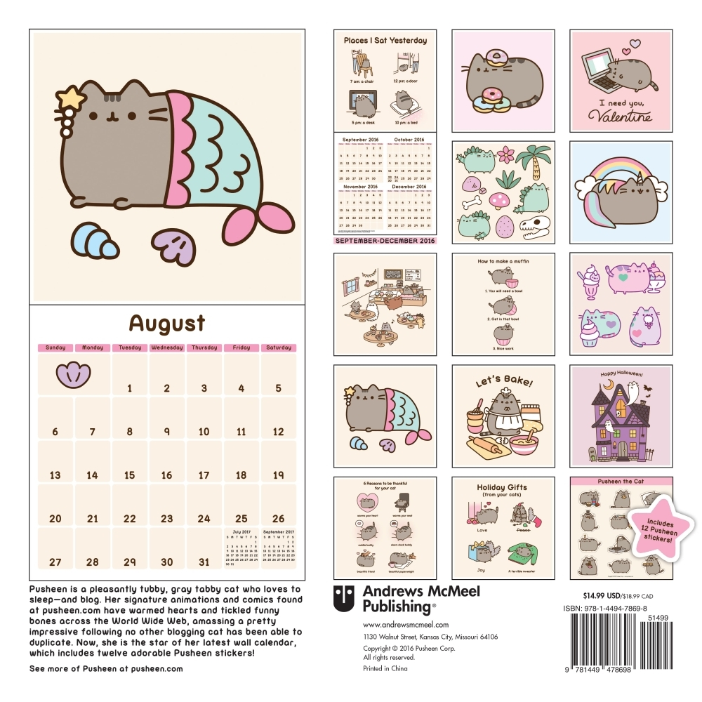 Beautiful Pusheen The Cat 2017 Calendar