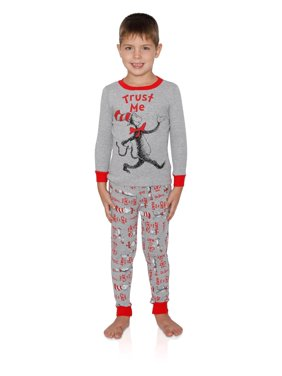 Dr. Seuss Boys Pajama Cotton 2 Piece Sleepwear Set Cat in the Hat Lounge Pants and Top, Gray, Size: 10