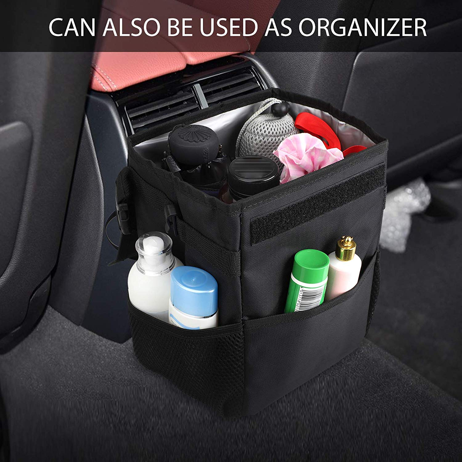 Cartisen Waterproof Car Trash Can with Lid and and Storage Pockets 100/% Leak-Proof Vinyl Inside Lining