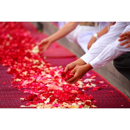 Laminated Poster Floor People Rose Petals Thailand Buddhism Poster