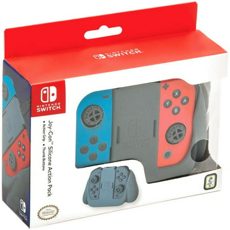 R D S Industries 663293109463 Nintendo Switch Joy Con Silicone Action Pack, Gray