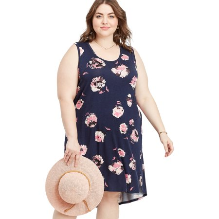 maurices Women's Floral Tank Dress - Plus Size 24/7 Collection Scoop Neck