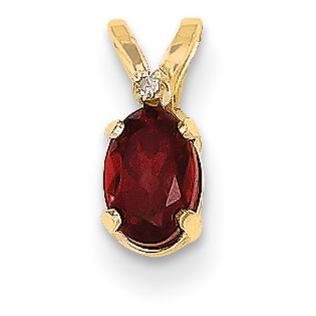 14k Yellow Gold 6x4 Oval Diamond & Garnet Birthstone Pendant 14k Garnet Cross Pendant