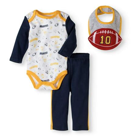 Bon Bebe Baby Boys 0-9 Months 3-Piece 3D Football Bib Bodysuit Pant Set