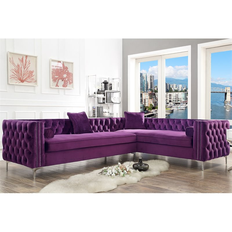 Levi Purple Velvet Corner Sectional Sofa - 120 Inches Right
