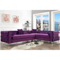Levi Purple Velvet Corner Sectional Sofa - 120 Inches Right