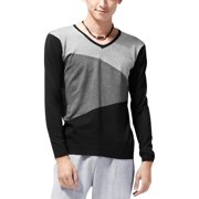 Black Dark Gray Light Gray S Pullover Stretchy Ribbed Cuff Shirt for Mens