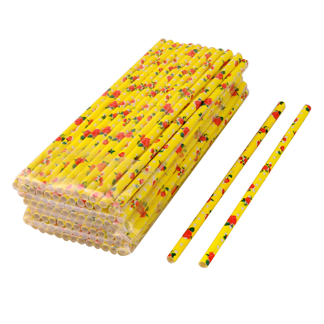 Unique Bargains Home Paper Flower Print Drinking Juice Milk Water Straw Yellow 0.6cm Dia 100pcs