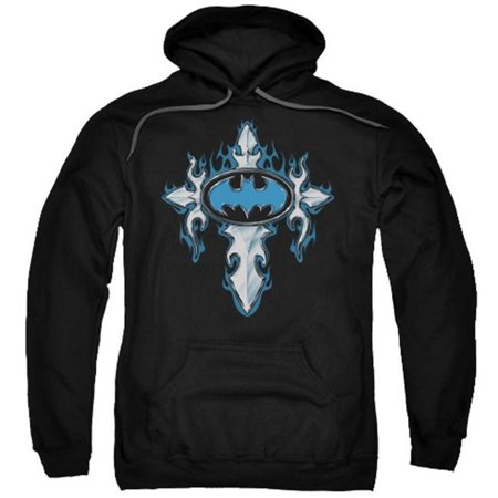 Gothic Adult Sweatshirt - Trevco Batman-Gothic Steel Logo - Adult Pull-Over Hoodie - Black, Medium