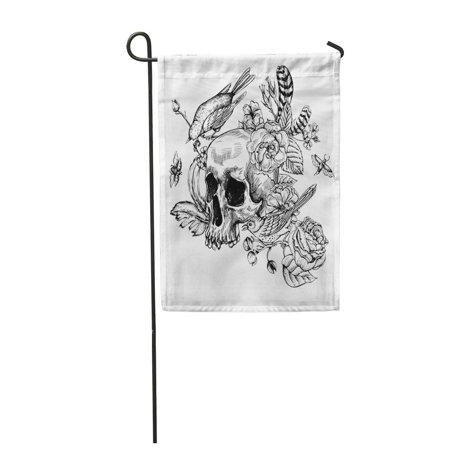 SIDONKU Skull with Flowers Roses Birds and Feathers Black and White Tattoo Design Garden Flag Decorative Flag House Banner 12x18 inch](Tattoos With Birds)
