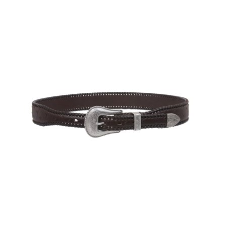 Western Ostrich Print Lased Tapered Leather Belt ()