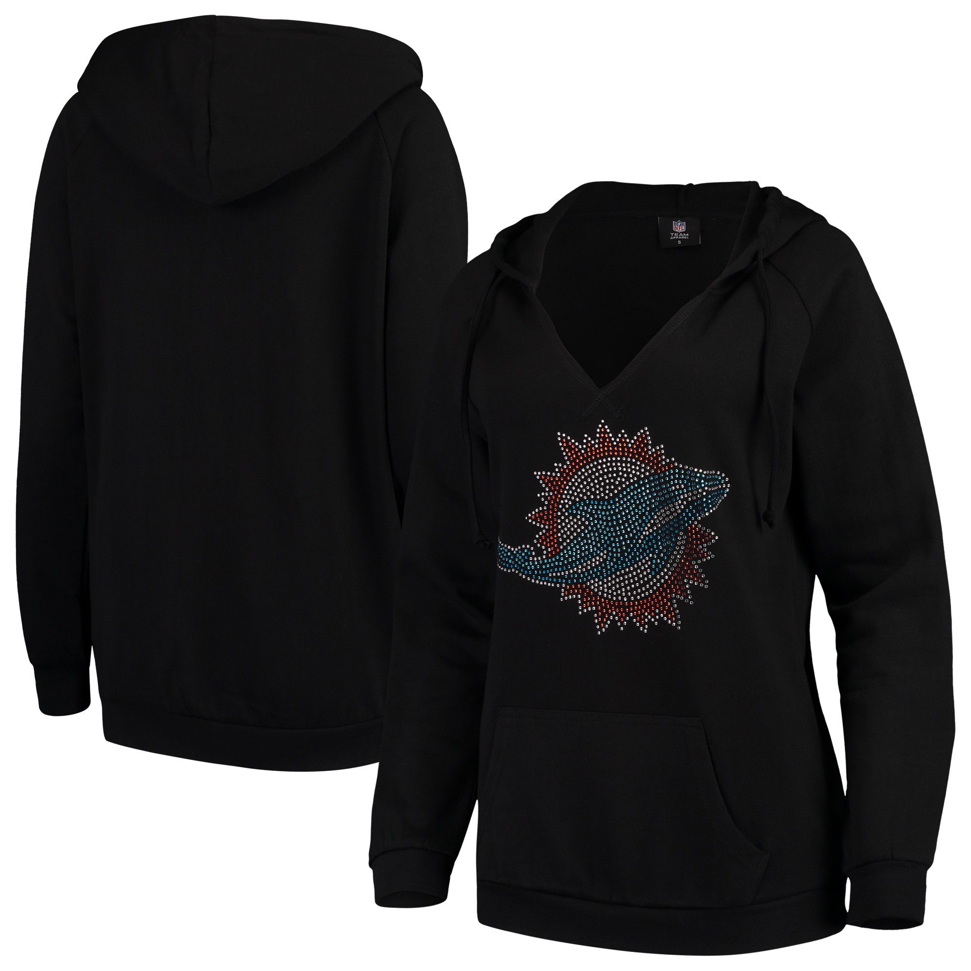 Miami Dolphins Cuce Women's Huddle Up Pullover Hoodie - Black