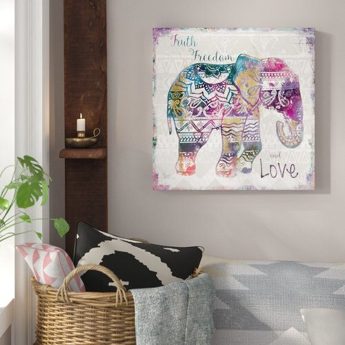 Bungalow Rose 'Boho Elephant' Graphic Art Print on Wrapped Canvas