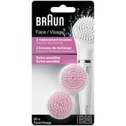 Braun Face 80S - Pack of 2 Sensitive Brush Refills for Braun Mini-Facial Epilator and Facial Cleansing Brush