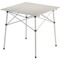 """Compact Outdoor Table, Silver 27.5""""W x 27.5""""L x 27.5""""H, Family-sized portable, folding table with room to seat four Sturdy design, steel frame and aluminum.., By Coleman"""