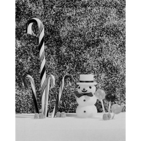 Christmas Still Life With Candy Canes Lollipops And Miniature Snowman Poster Print