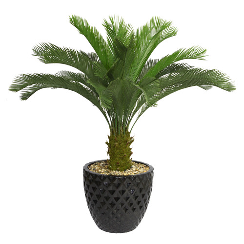 Bloomsbury Market Tall Floor Cycas Palm Tree in Planter