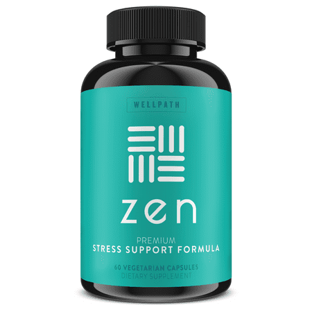 Zen Premium Anxiety and Stress Relief Supplement - Natural Herbal Formula Developed to Promote Calm, Positive Mood - with Ashwagandha, L-Theanine, Rhodiola Rosea, Hawthorne - 60 Veg. Capsules Natural Herbal Formula