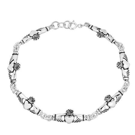 Sterling Silver .925 Celtic Claddagh Link Bracelet