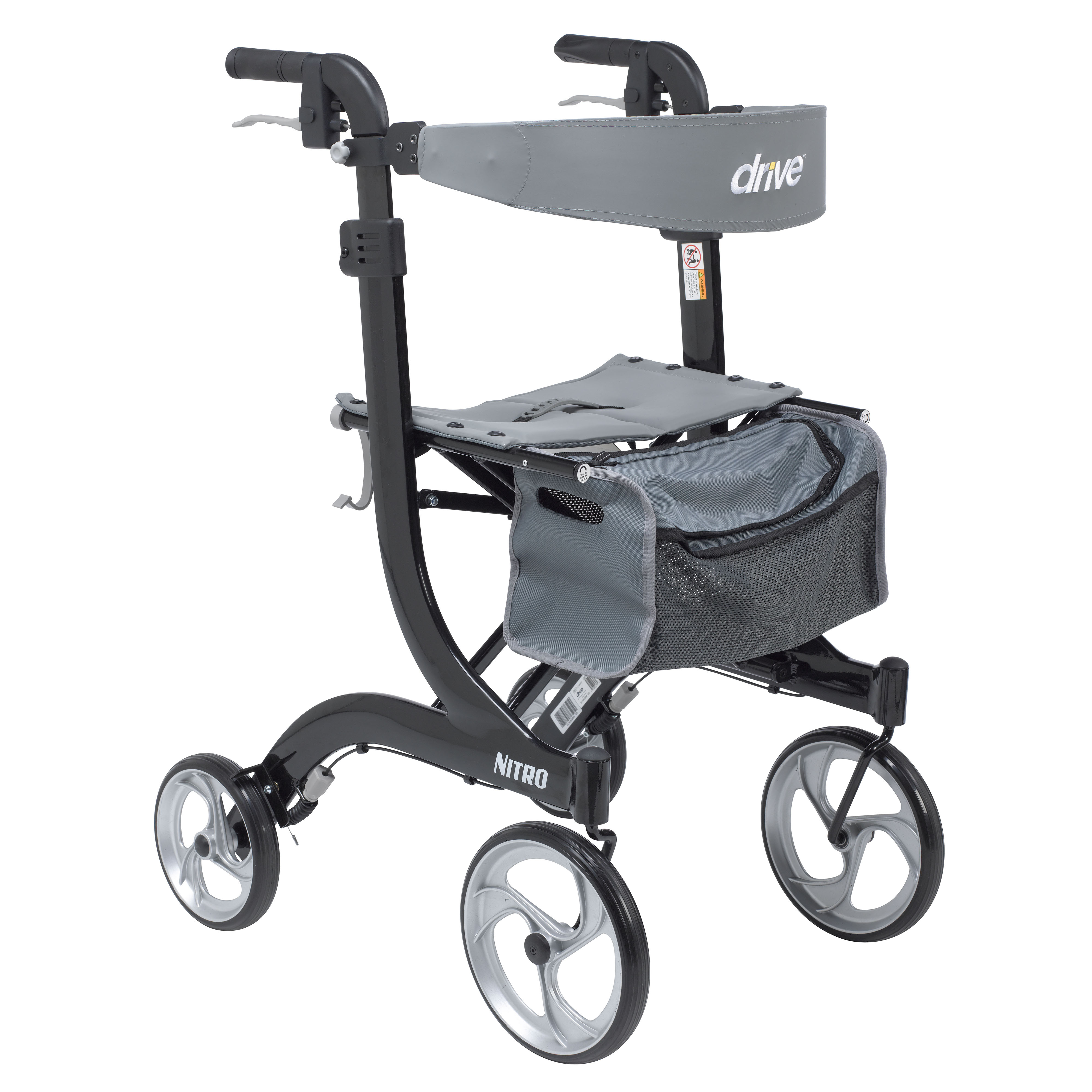 Drive Medical Nitro Euro Style Rollator Rolling Walker, Tall, Black