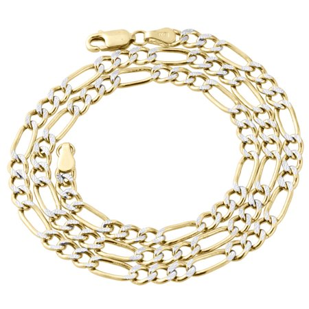 Real 10K Yellow Gold Diamond Cut Figaro Style Chain 4.25mm Necklace 16 Inches