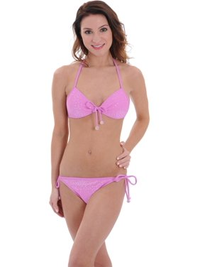 10c4e3a4bb7 Free shipping. Product Image Bikini Lab Juniors Pink String Swimsuit 2 Piece  Halter Set Sequins Beaded