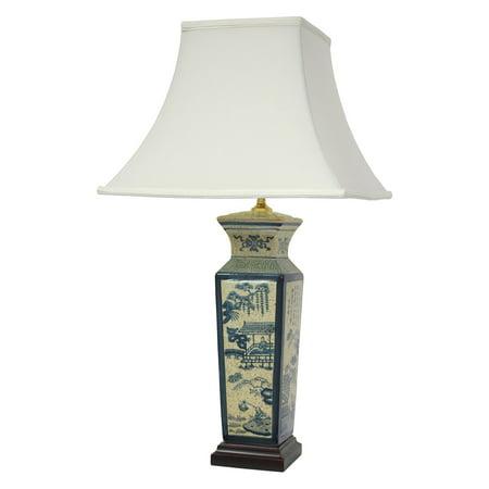 """26"""" Blue Landscape Porcelain Lamp"""