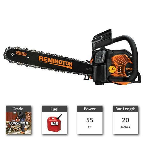"Remington RM5520R Remington RM5520R Rodeo 20"" 55cc Gas Chainsaw with QuickStart System, Gas Powered"