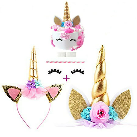 Coolmade Handmade Gold Unicorn Birthday Cake Toppers Unicorn Hairband and Eyelash set. Unicorn Horn, Ears and flowers Set. Unicorn Party Decoration for baby shower, wedding and birthday party - Classic Cake Decorations