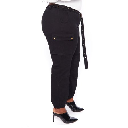 aee652d0cd9 Womens Casual Plus Size Solid Side Cargo Belted Long Jogger Pants  HDP9579-3XL-Black - Walmart.com