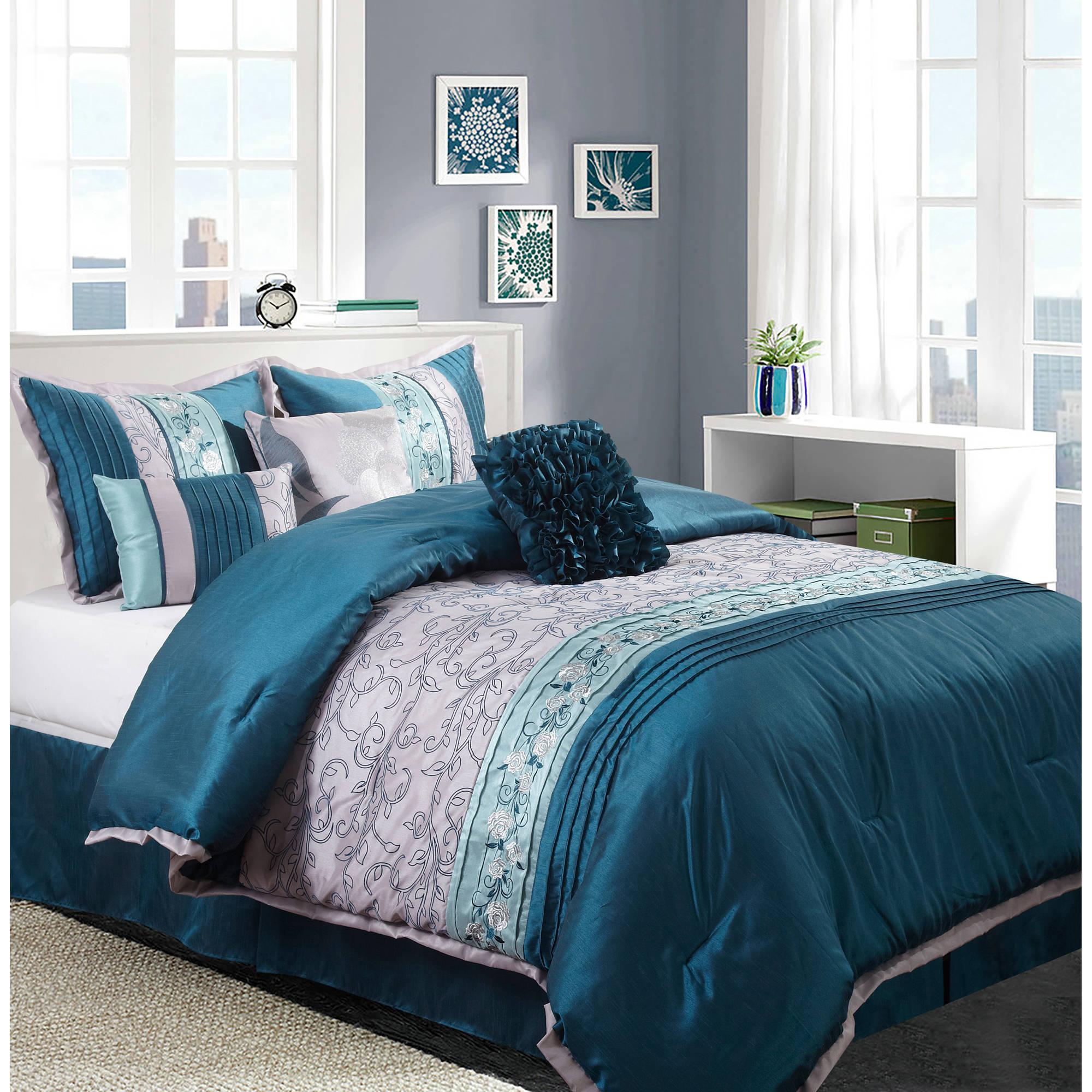 Nanshing Juliana Piece Bedding Comforter Set Walmartcom - Black and teal comforter sets