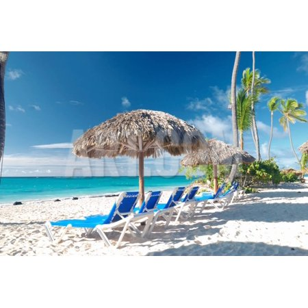 Beautiful Caribbean Beach with Chaise Lounge in Dominican Republic Print Wall Art By