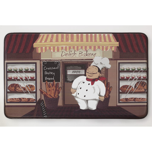 "Chef Gear Happy Chef Faux Leather Anti-Fatigue 18"" x 30"" Cushioned Chef Mat"
