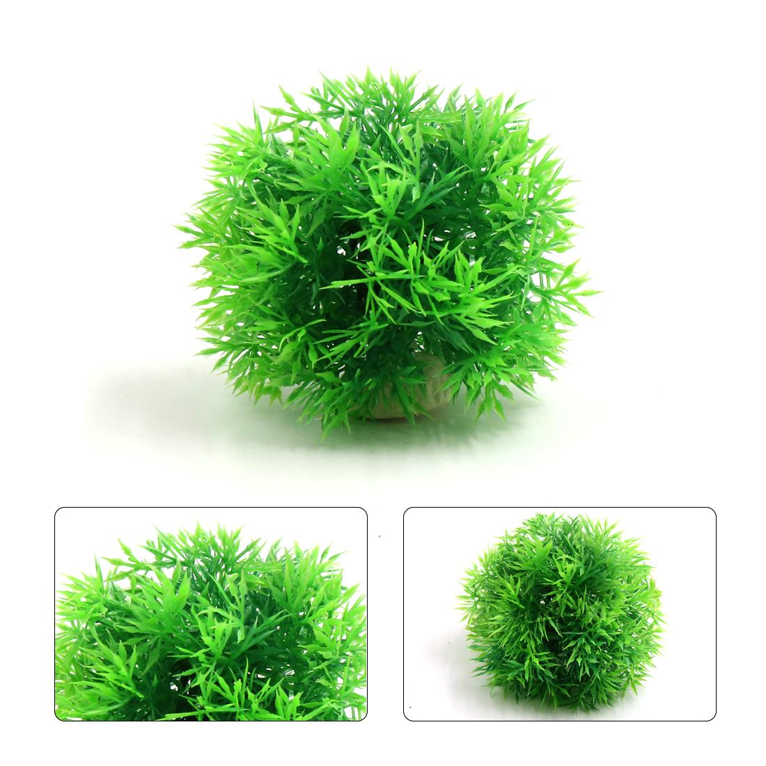 Green Plastic Needle Grass Ball Aquarium Fish Tank Decor Aquatic Plant Ornament