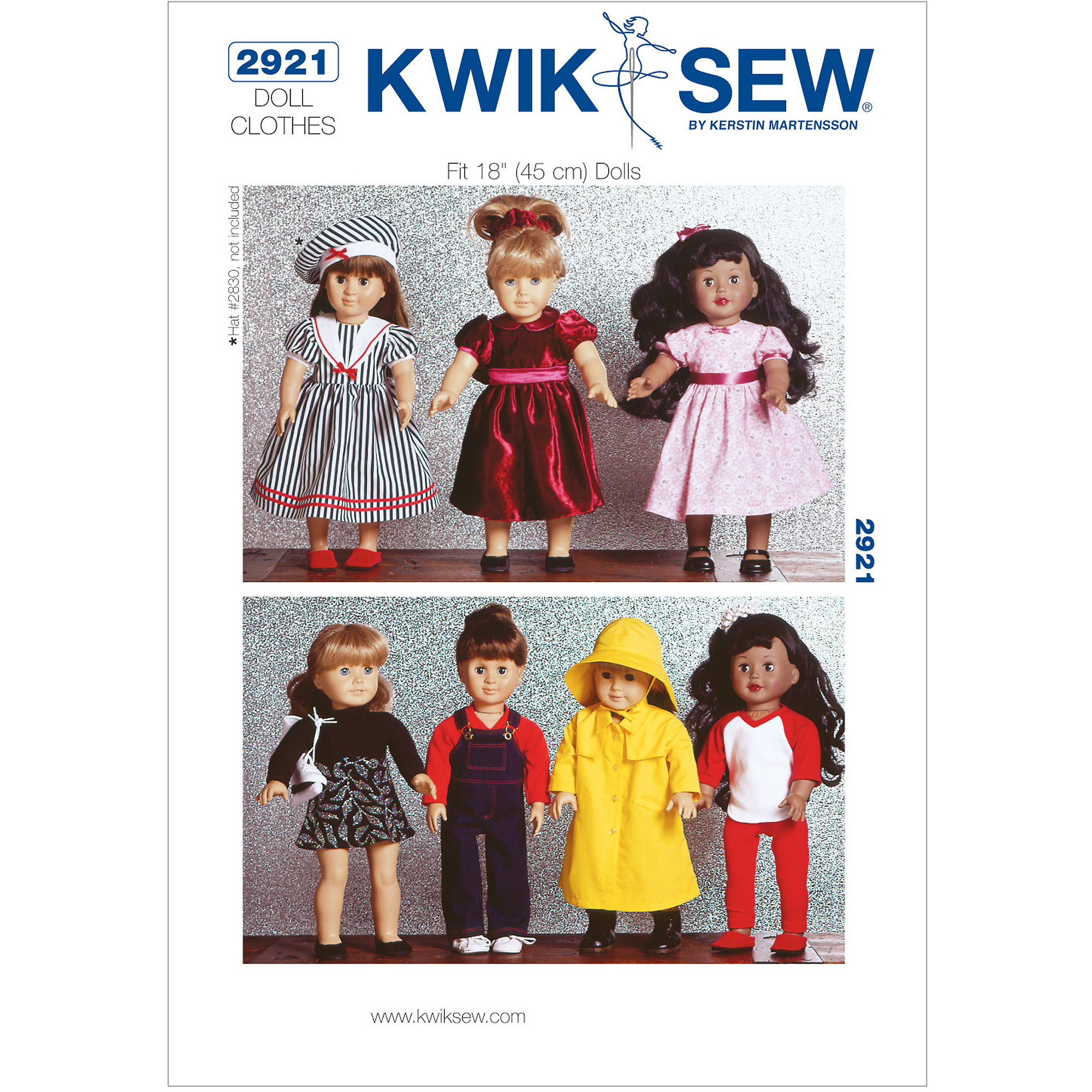 "Kwik Sew Pattern Dolls Clothes, Fits 18"" Dolls"