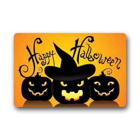 WinHome Funny Halloween Jack O Lantern Face Doormat Floor Mats Rugs Outdoors/Indoor Doormat Size 23.6x15.7 inches - Level 5 100 Floors Halloween