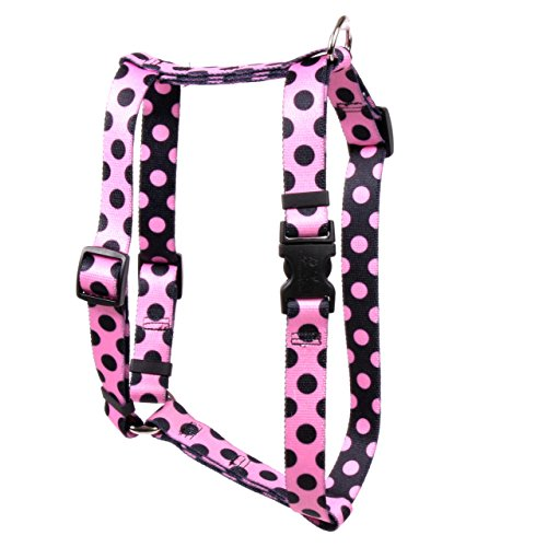 """Yellow Dog Design Pink Black Polka Dot Roman Style """"H"""" Dog Harness, Large-1"""" Wide fits Chest of 20 to 28"""""""