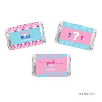 Gender Reveal Baby Shower Pink or Blue, 36-Pack Chocolate Minis Labels, Party Favors