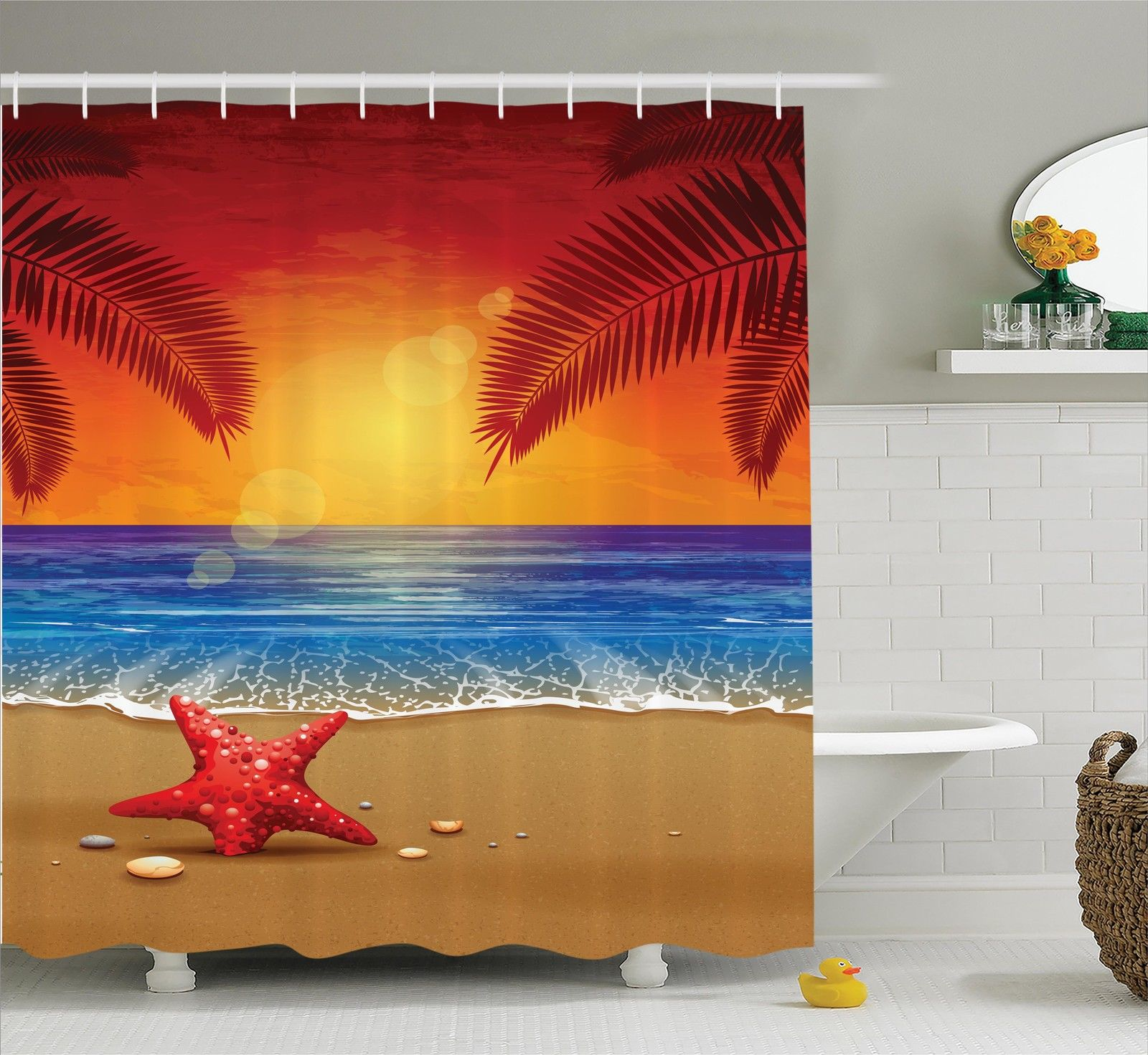 Tropical Decor Shower Curtain Set, Sunset Cartoon Illustration Beach Summer Starfish Palm Tree Ocean Fantasy Art, Bathroom Accessories, 69W X 70L Inches, By Ambesonne