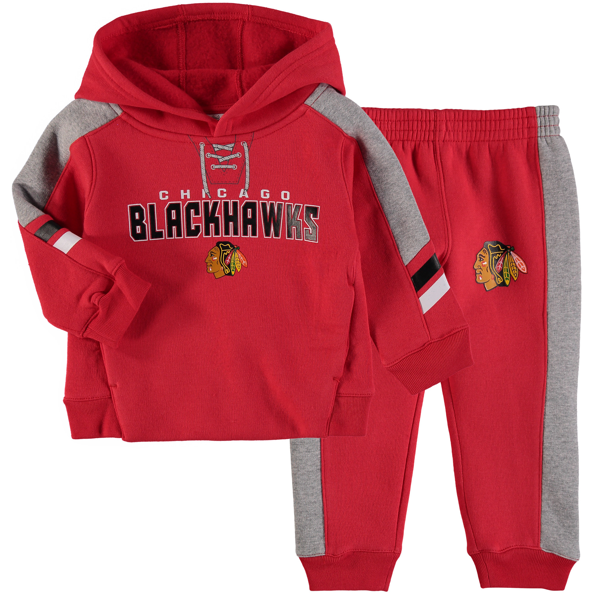 Chicago Blackhawks Infant Power Forward Hockey Hoodie and Pant Set - Red