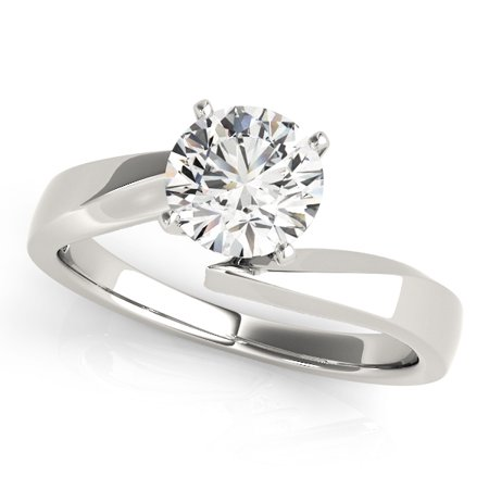 Solitaire Ring with Center Round Diamond 0.7ct H VS2. Graded by GIA cert