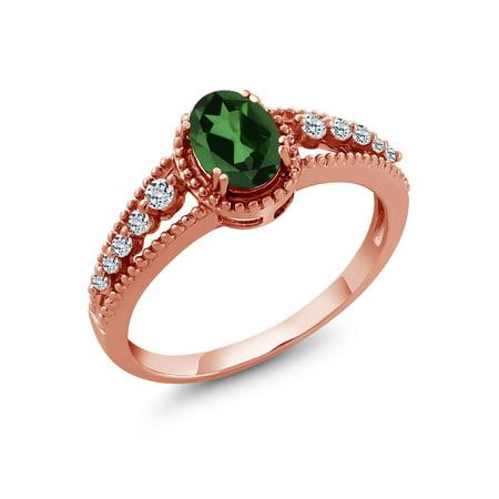 Envy Jewel (1.01 Ct Emerald Envy Mystic Topaz White Topaz 18K Rose Gold Plated Silver)